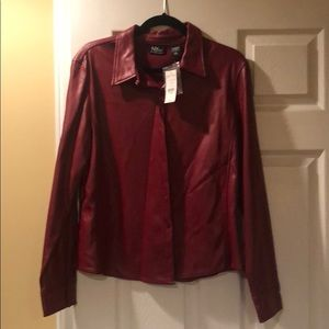 Faux leather burgundy button down top. Size large.